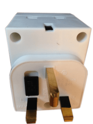 White Socket adaptor with a fuse holder