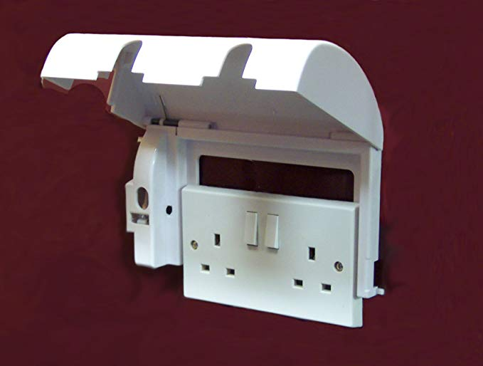 Lockable Socket safety cover being slid into place over a double socket