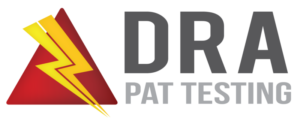 Logo for DRA PAT Testing with red triangle and yellow power strike through