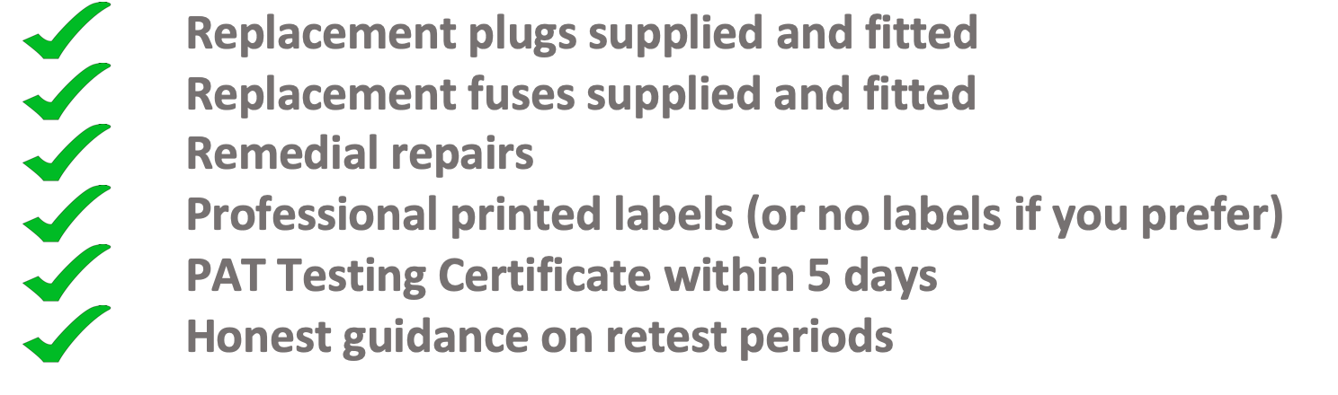 what you get with our pat testing price