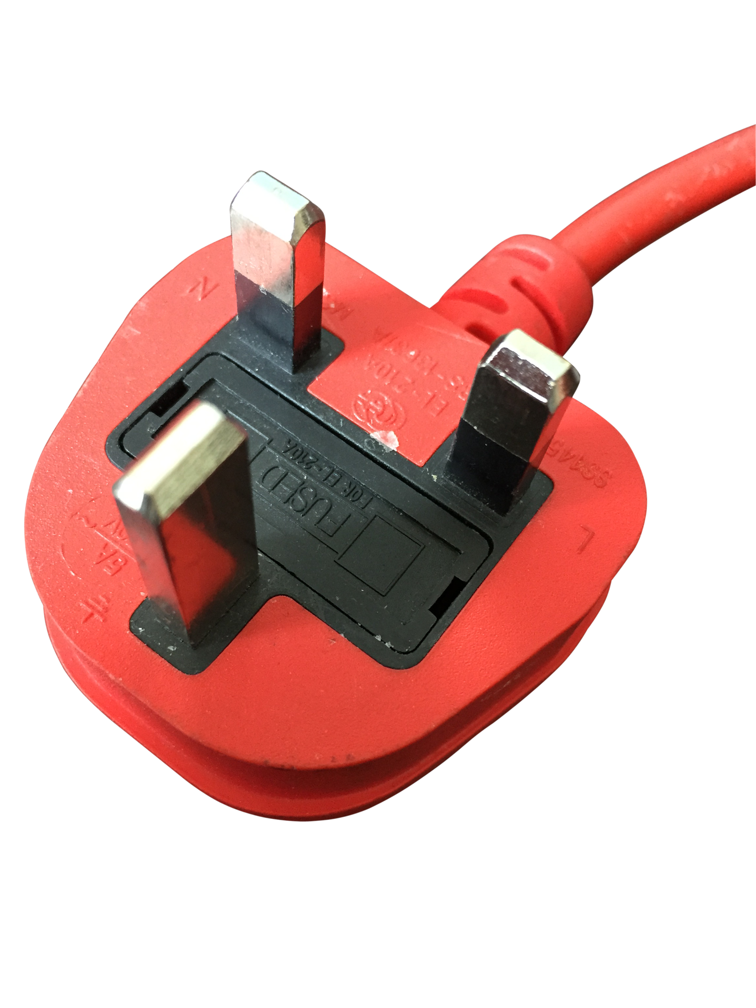 Red electrical plug used for pat testing cables